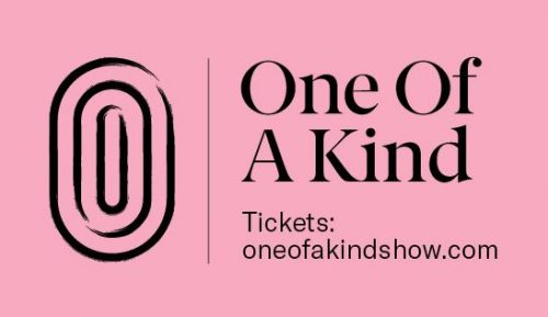 One of a Kind Show artwork - pink background, black text