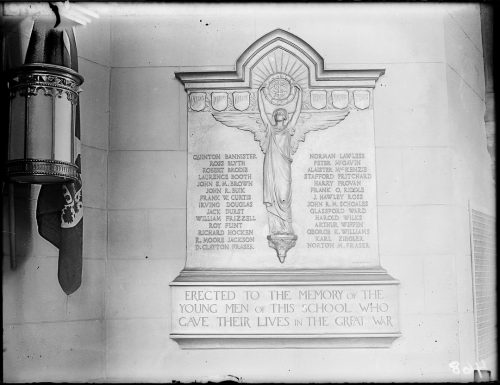 Memorial to past pupils of Central Technical School, who died during the First World War