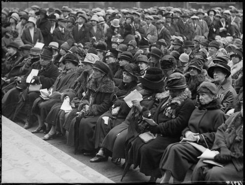 Group of First World War widows seated at Old City Hall cenotaph unveiling ceremony