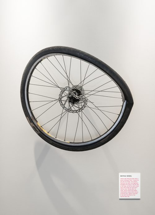 A crushed-up bicycle wheel is mounted on the wall like an exhibit in an art gallery.