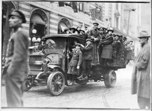 Truck full of Armistice Day celebrants