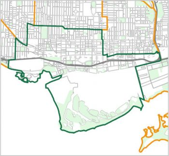 Map showing the boundary of Ward 10, one of the City of Toronto's 25 municipal wards effective December 1, 2018. For assistance with the content of this map, please email cityplanning@toronto.ca or call 416-392-8343.