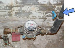 Water meter and stop/waste valve on the attached pipe