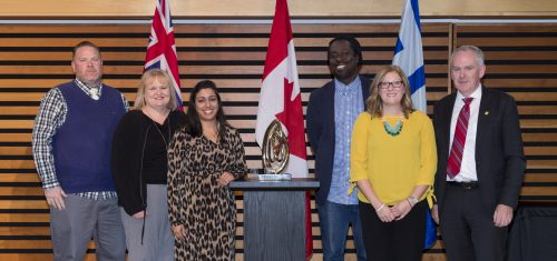 Leadership category award winners for the Criminal Justice Pathways Project. From left to right: Craig Milson, Alison Dasneves, Sherry Kamali, Jabari Lindsay, Shari Janes-Olmstead, Chris Murray (City Manager).
