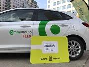 A car belonging to a car-sharing company.