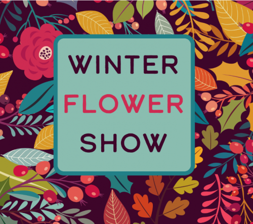 Text reading Winter Flower Show on a colourful floral backdrop.