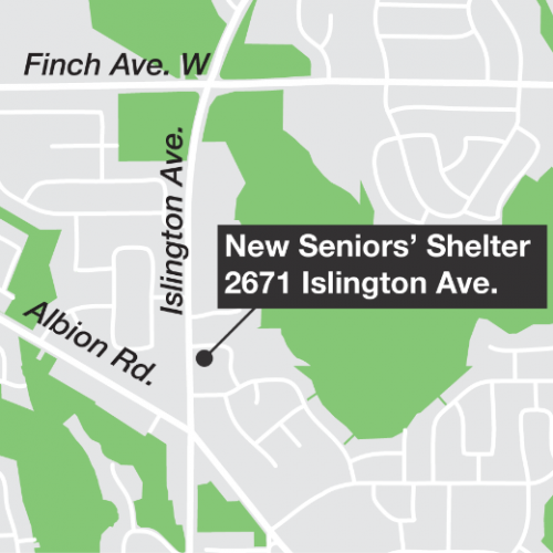 Map showing the location of new seniors' shelter just north of the intersection of Albion Road and Islington Ave.