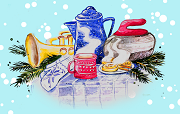 A drawing of a mug of hot chocolate, warm cookies, mittens, a curling rock, a horn and some balsalm fir.