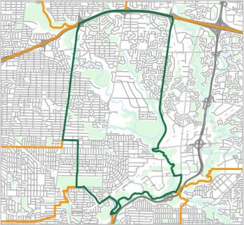 Map showing the boundary of Ward 15, one of the City of Toronto's 25 municipal wards effective December 1, 2018. For assistance with the content of this map, please email cityplanning@toronto.ca or call 416-392-8343.