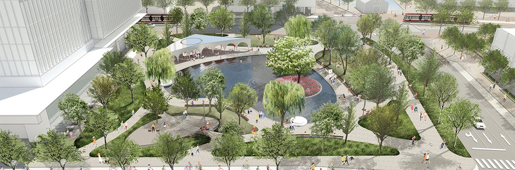 Artist rendering of the new park at York Street and Queens Quay.