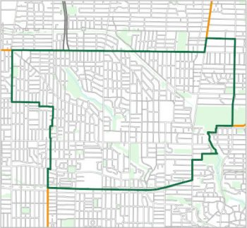 Map showing the boundary of Ward 12, one of the City of Toronto's 25 municipal wards effective December 1, 2018. For assistance with the content of this map, please email cityplanning@toronto.ca or call 416-392-8343.