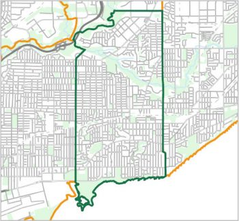 Map showing the boundary of Ward 19, one of the City of Toronto's 25 municipal wards effective December 1, 2018. For assistance with the content of this map, please email cityplanning@toronto.ca or call 416-392-8343.