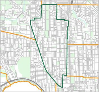 Map showing the boundary of Ward 9, one of the City of Toronto's 25 municipal wards effective December 1, 2018. For assistance with the content of this map, please email cityplanning@toronto.ca or call 416-392-8343.