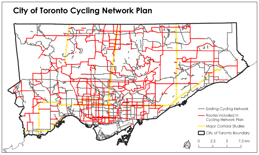 Map of City of Toronto Cycling Network Plan