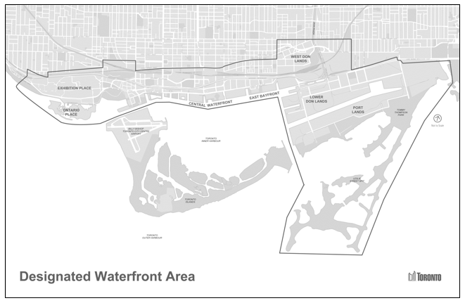 Overhead map of the Toronto waterfront area, outlining the designated area for revitalization