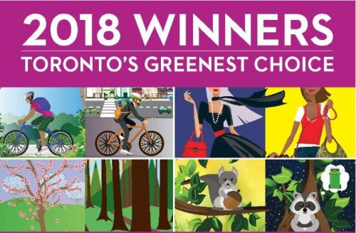 A banner reading 2018 Winners Toronto's Greenest Choice with images of cyclers, nature and shoppers.