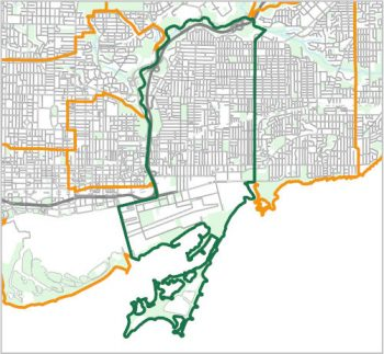 Map showing the boundary of Ward 14, one of the City of Toronto's 25 municipal wards effective December 1, 2018. For assistance with the content of this map, please email cityplanning@toronto.ca or call 416-392-8343.