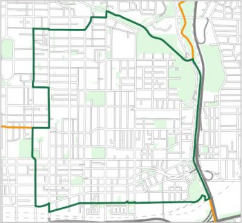 Map showing the boundary of Ward 13, one of the City of Toronto's 25 municipal wards effective December 1, 2018. For assistance with the content of this map, please email cityplanning@toronto.ca or call 416-392-8343.