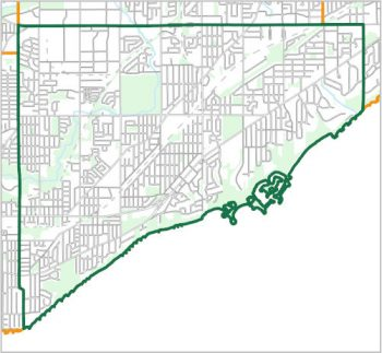 Map showing the boundary of Ward 20, one of the City of Toronto's 25 municipal wards effective December 1, 2018. For assistance with the content of this map, please email cityplanning@toronto.ca or call 416-392-8343.