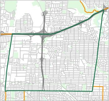 Map showing the boundary of Ward 8, one of the City of Toronto's 25 municipal wards effective December 1, 2018. For assistance with the content of this map, please email cityplanning@toronto.ca or call 416-392-8343.