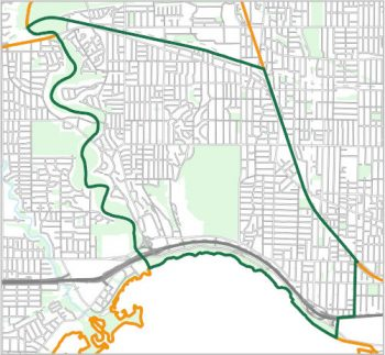 Map showing the boundary of Ward 4, one of the City of Toronto's 25 municipal wards effective December 1, 2018. For assistance with the content of this map, please email cityplanning@toronto.ca or call 416-392-8343.