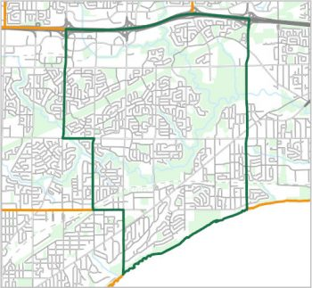 Map showing the boundary of Ward 24, one of the City of Toronto's 25 municipal wards effective December 1, 2018. For assistance with the content of this map, please email cityplanning@toronto.ca or call 416-392-8343.