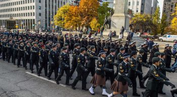 250 members of the Canadian Armed Forces march past the South African War Memorial located at University Avenue and Queen Street West.