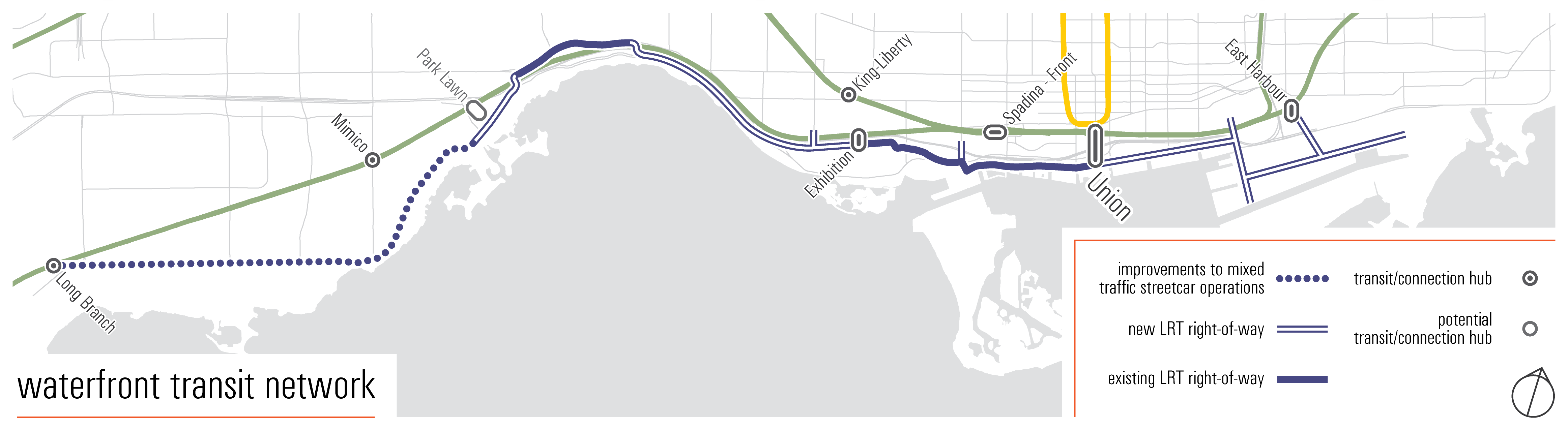 Waterfront transit map. The new transit will connect Long Branch across the waterfront to Union then east to East Harbour
