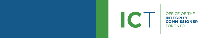 Banner featuring the Office of the Integrity Commissioner's Blue and Green Logo