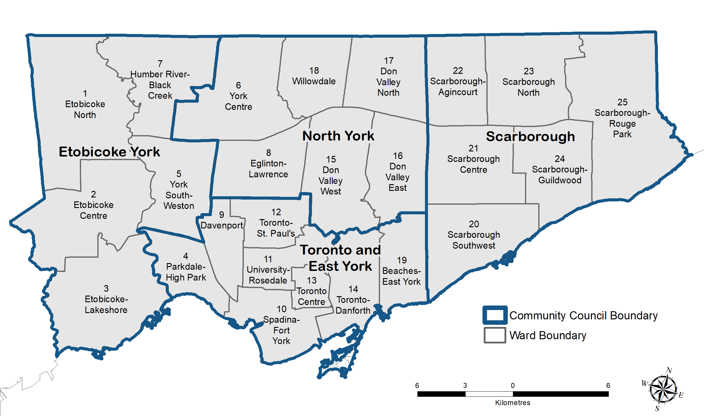 A map showing Toronto's Community Councils
