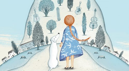 Illustration. Girl with red hair, blue dress. Standing beside white dog. Hill with trees in the distance.