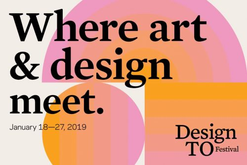 event wordmark, pink, orange background. 'Where art & design meet', Design TO Festival