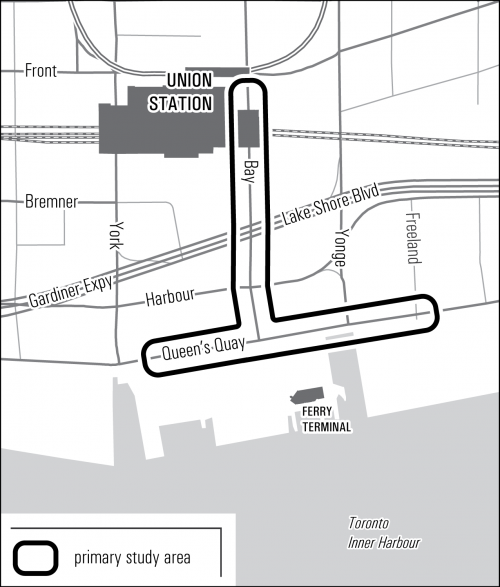 The study area of the Union Queens Quay link extends from Union Station along Bay Street to Queens Quay. The link then extends along Queens Quay from just east of York Street to just east of Freeland St