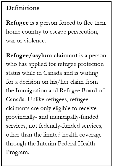 "A text box graphic showing the definitions of ""refugee"" and ""refugee / asylum claimant"""