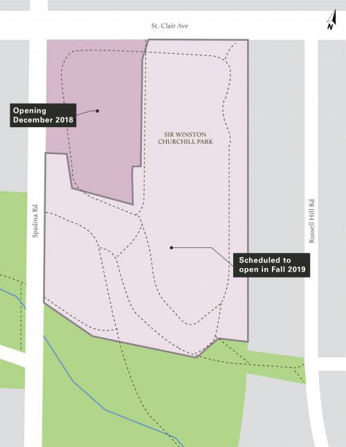 The northwest part of the park will re-open in December 2018,, south of St. Clair Ave., at Spadina Road. The remainder of the park is scheduled to open in Fall 2019.