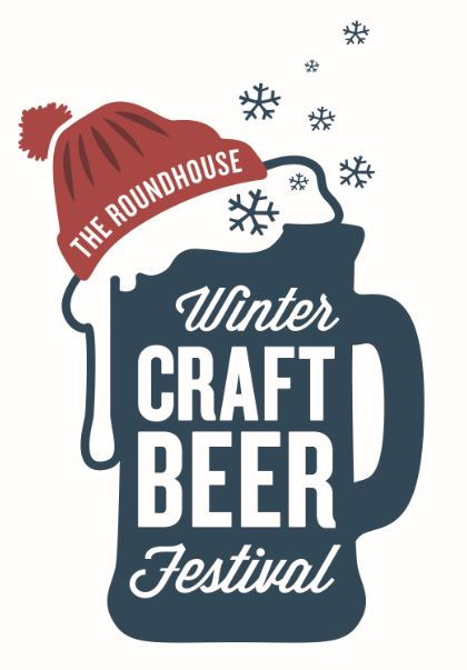 Illustration. Beer mug with red toque. Winter Craft Beer Festival text.