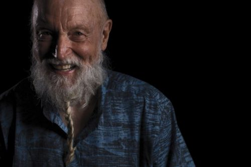 Man with white beard - smiling. Terry Riley credit Ray Tarantino.
