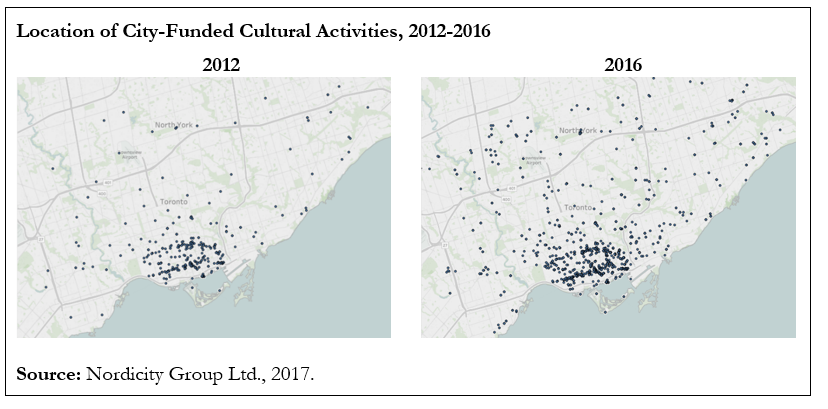 Graphic with two maps indicating the locations of City-funded Cultural Activities in 2012 and 2016