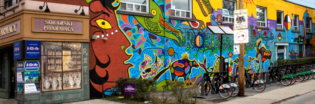 Colourful mural image located in Roncesvalles neighbourhood