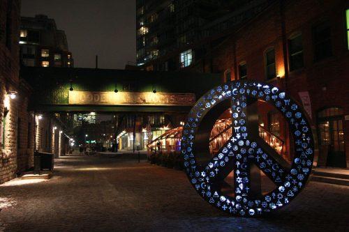 Light installation. Peace symbol. In Distillery District.