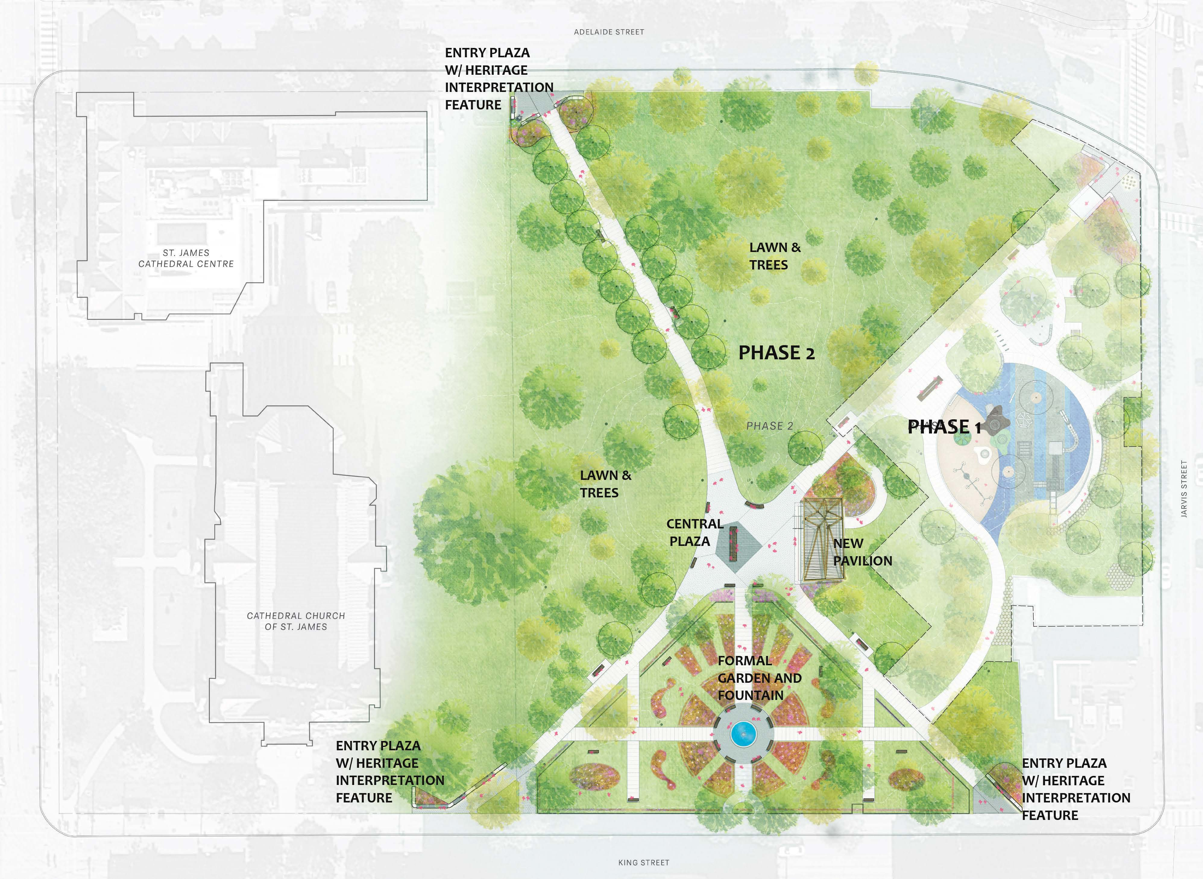 Phase two site plan showing updated entry plazas and new central plaza and pavilion of St. James Park