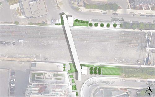 Aerial view of proposed bridge