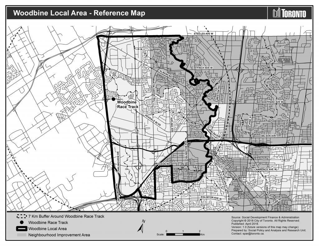 Map showing the Woodbine race track, the boundaries of the Woodbine area and the Neighbourhood Improvement Area that partially overlaps some of the Woodbine area.