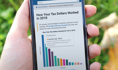 info graphic of how your tax dollars worked in 2018 on cell phone