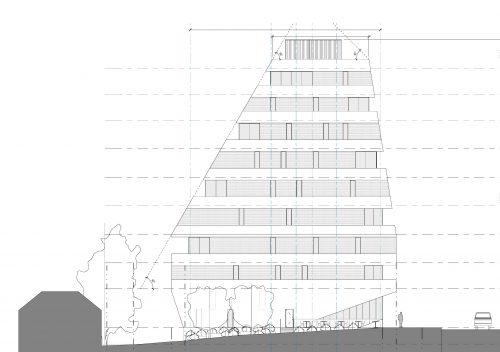 Side elevation of the proposed 10-storey mixed-use building at 861 St Clair Ave W