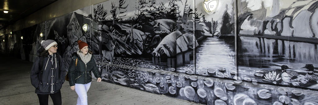 black and white mural at Simcoe underpass