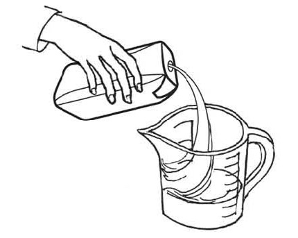 pour liquid formula into container