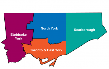 2019 Toronto District Boundaries - A multi-coloured map showing the different district boundaries within the City of Toronto