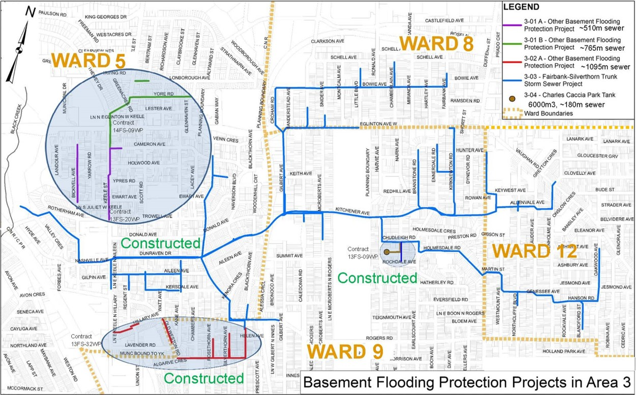 Map of Fairbank Silverthorn in the City of Toronto. To the East of the map is Ward 12, to the west is Ward 5, to the north is Ward 8 and to the South is Ward 8. The map outlines where Basement flooding work will be taking place and where the sewers and Fairbank Silverthorn Trunk Sewer Project extents to.