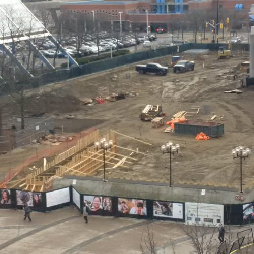 A photo showing the empty space and construction zone at Albert Cambell Park